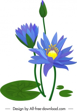 lotus painting classical buds leaves flowers decor