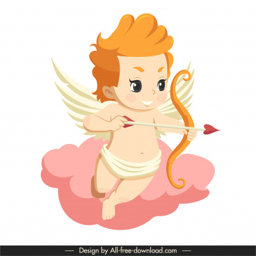 love angel icon winged boy sketch cartoon character