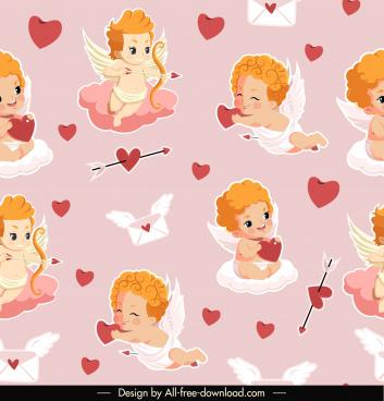 love angels pattern cute kids hearts envelopes sketch