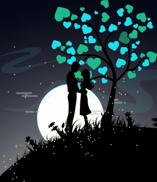 love background couple icon silhouette hearts tree decor