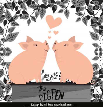 love background cute piggy sketch leaves decor