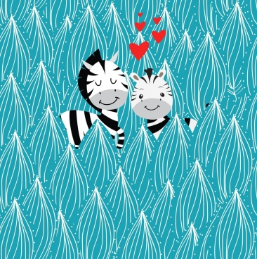 love background cute zebra icons hearts trees decor