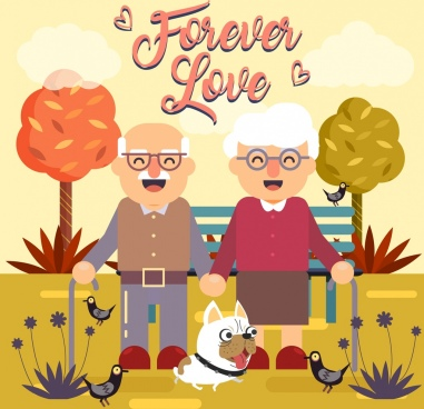 love background old couple pets icons cartoon design
