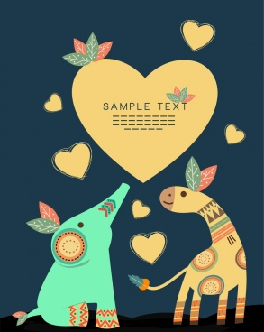 love background tribal decor hearts giraffe elephant icons