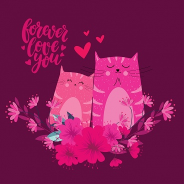 love banner cat couple icon dark pink design
