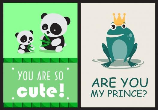 love banner templates cute panda frog icons decor