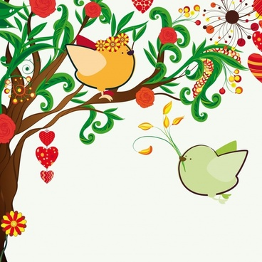 love painting birds couple sketch colorful handdrawn design
