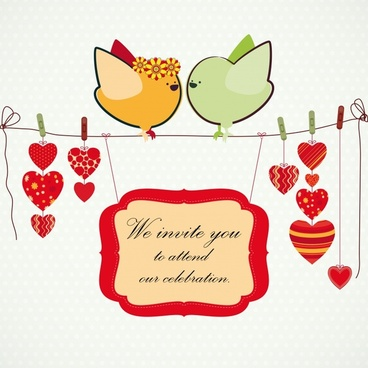 wedding card background love birds icon cartoon sketch