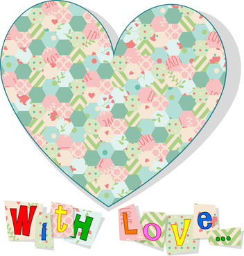 love card design with heart and sweet letters