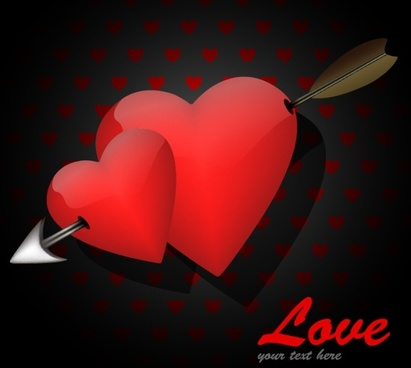 love background red heart arrow icons decor