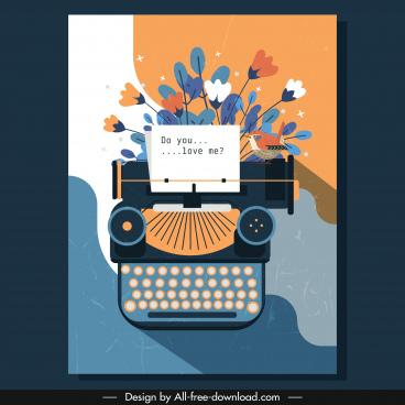love card template vintage design typewriter flora decor