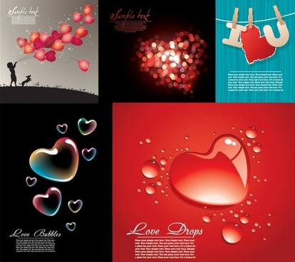 love background sets heart decor multicolored classical design