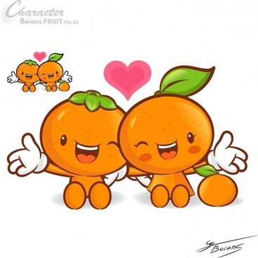 orange fruit background cute cartoon characters stylized design