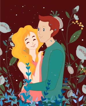 love couple painting human flowers icons cartoon design