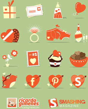 love elements cartoon icons vector