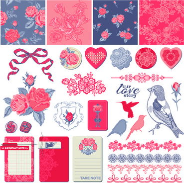 love elements ornament kit vector