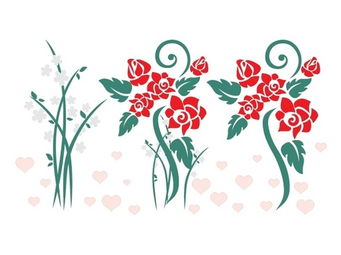 flowers vector illustration with seamless sketch