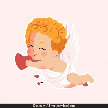 love icon flying cupid sketch cute cartoon character