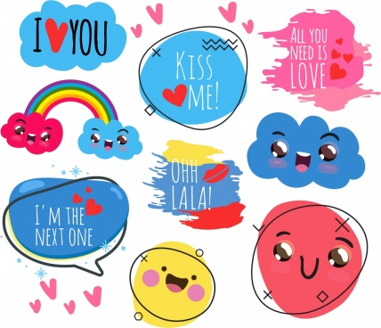 love icons collection cute handdrawn design