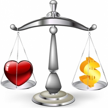 Love or money work life balance scales