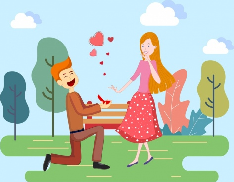 love painting couple hearts icon cartoon design