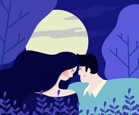 love painting romance couple moonlight icons violet design