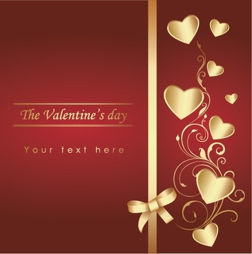 valentine backdrop hearts ribbon decor golden red design
