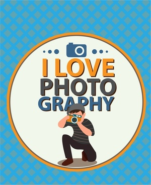 love photography banner cameraman design with text