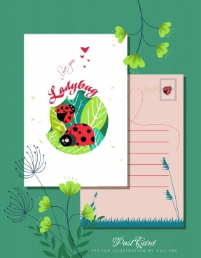 love postcard template ladybug icons decor