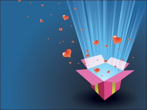 Love Present Box Vector Illustration With Red Hearts