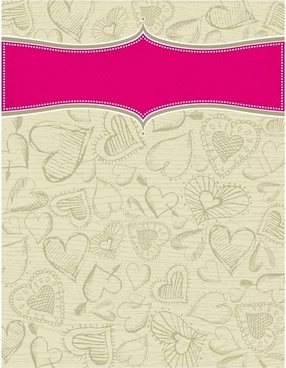 romance background hearts icons decor handdrawn sketch