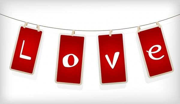 love background hanging text tags decor