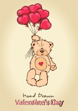 love teddy bear toy balloons vector artwork background lines