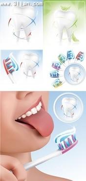 dental design elements tooth brush icons vivid design