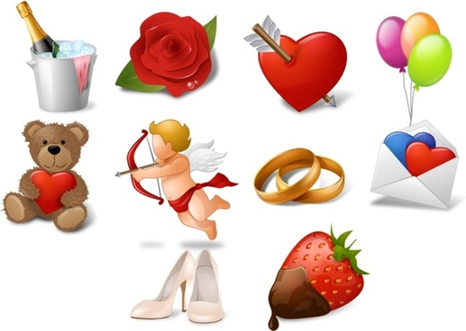 love celebration icons collection various colorful types