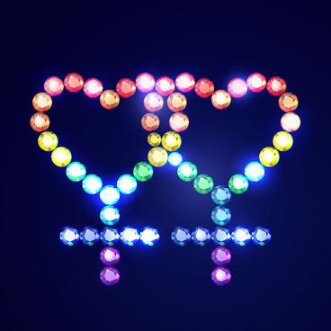 love with colored diamond design vector
