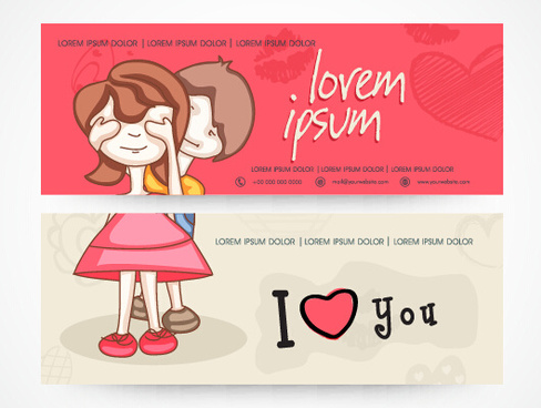 love with heart banners vector