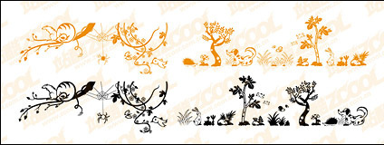 Lovely animal and plant material vector