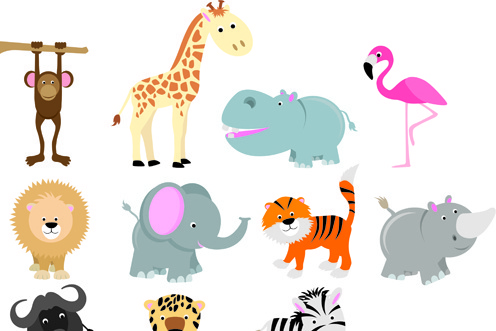 lovely animals design elements