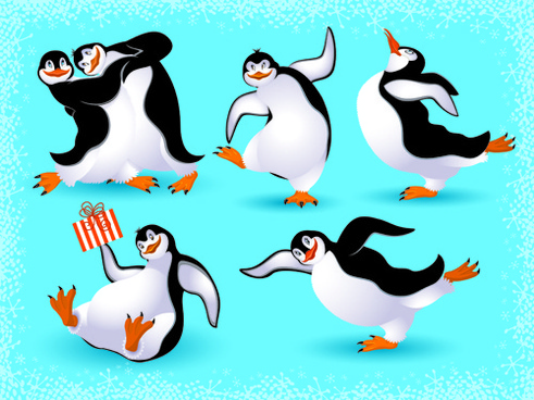 lovely animals in winter design vector set
