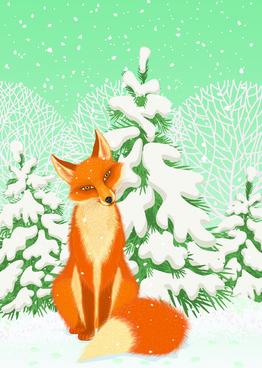 lovely animals in winter design vector set
