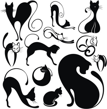 lovely animals vector silhouettes