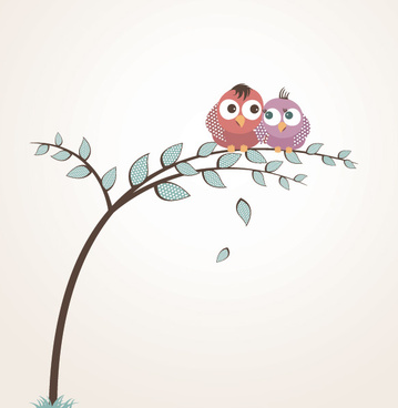 lovely birds vector graphic