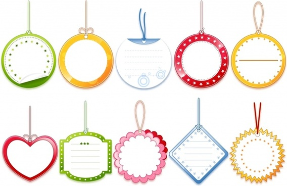 tags templates modern circle serrated heart polygon shapes