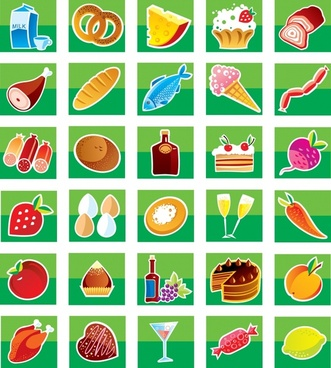 food icons collection colorful sketch squares isolation