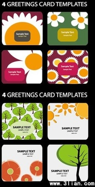 greeting card templates nature themes colorful classical decor