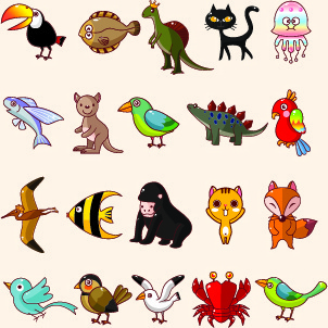 lovely cartoon animals vector set