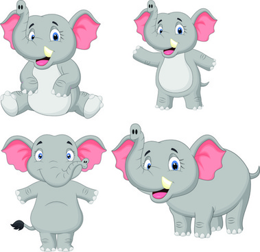 lovely cartoon elephant vector