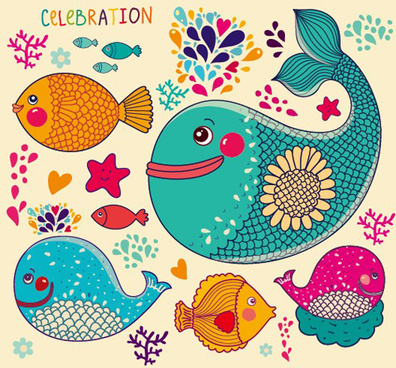 lovely cartoon fish design vector graphics