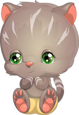 lovely cartoon kittens vector design